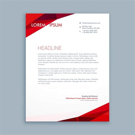 abstract red letterhead vector