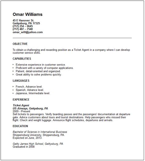 customer service resume travel