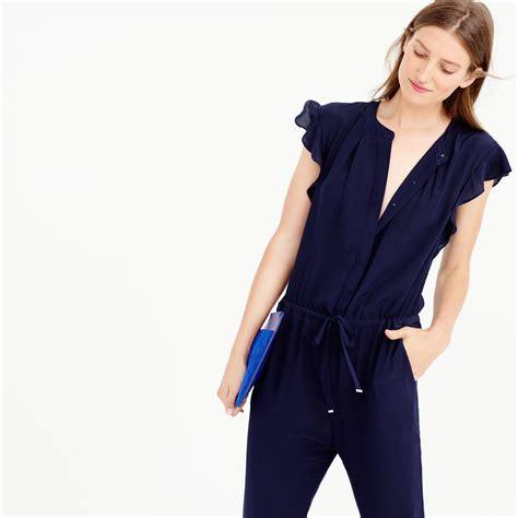 jcrew jumpsuit j crew silk flutter sleeve jumpsuit in blue lyst