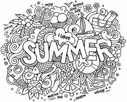 Doodle Coloring Pages Summer Adults Alley Doodles