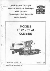 New Holland Combine Tf42  U0026 Tf44 Parts Manual