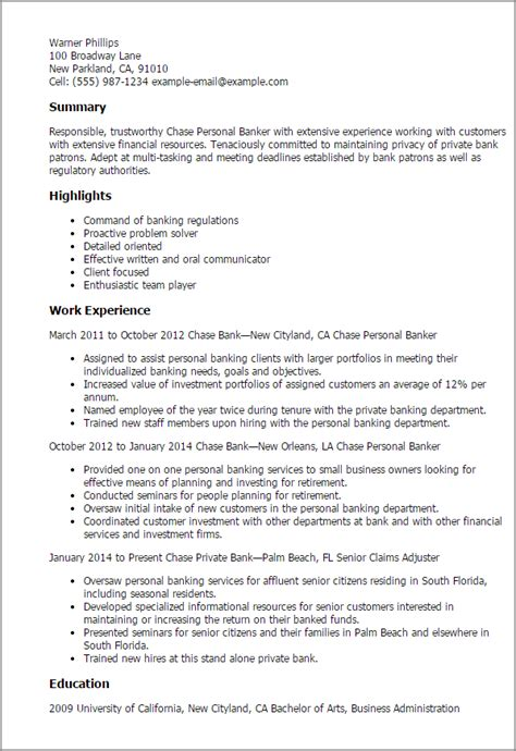 banker profile sumary resume 1 personal banker resume templates try them now