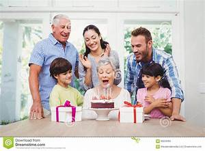 Smiling Family During Birthday Party Of Granny Stock Image ...