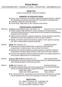 Electrical Resume Template Resume For A Broadcast Electronics Engineer Susan Resumes