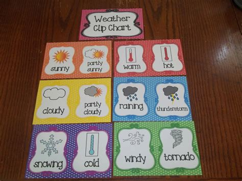 7 weather clip chart cards preschool classroom supplies 699 | s l1000