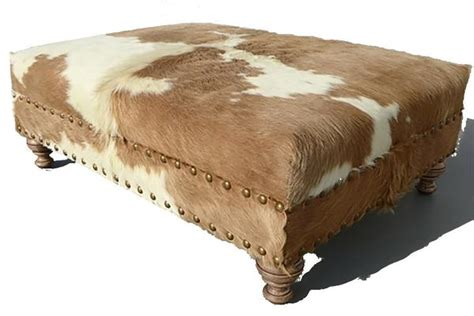 Cowhide Ottoman by Custom Cowhide Ottoman Beige White Cowhides Direct