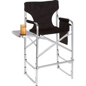 aluminum frame tall director s chair with side table by