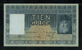 Dutch banknotes 10 Gulden note of 1938, Rembrandt painting ...