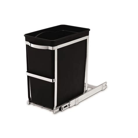 in cabinet trash can roll out simplehuman 6 8 gallon black rectangular commercial grade