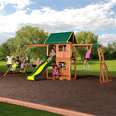 Backyard Play Set - outdoor cedar wooden swing set play center slide