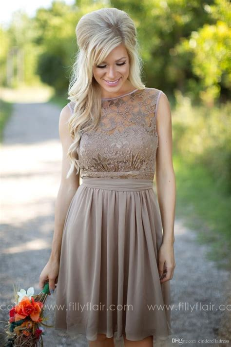 tan  country style bridesmaid dresses jewel sheer