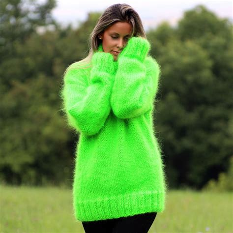 heavy wool blankets for sale neon green color knit mohair sweater by extravagantza