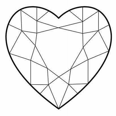 Diamond Coloring Heart Shaped Diamonds Drawing Shape