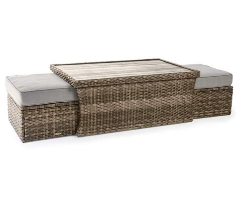 Coffee end table sets with storage space is a great way to increase the organization of your living area. Broyhill Eagle Brooke Coffee Table & Cushioned Ottoman All-Weather Wicker Set - Big Lots in 2020 ...