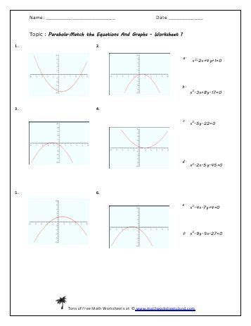 parabola equation match worksheet  pack math