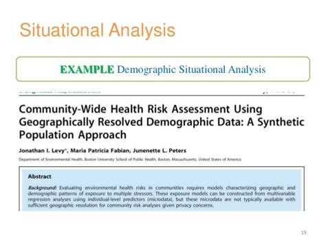 situational analysis template situation analysis of a health problem
