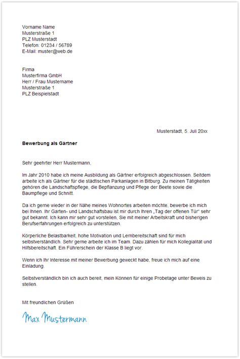 Garten Landschaftsbau Ausbildung Bewerbung by Bewerbungsschreiben Muster Bewerbungsschreiben G 228 Rtner
