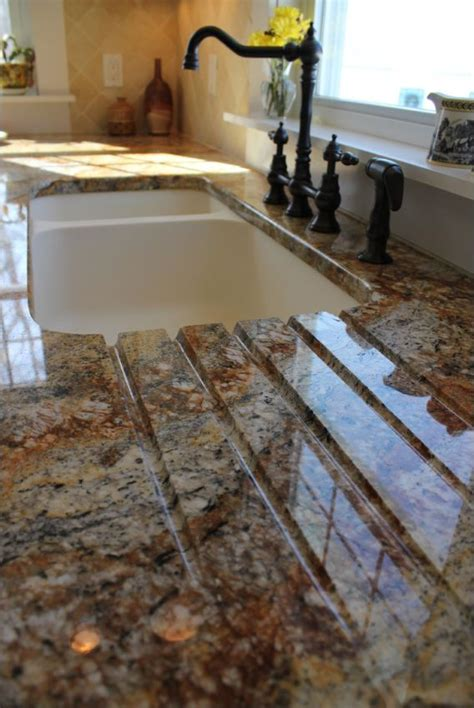 drain board built   granite countertop leading