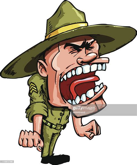 Comic Drill Sergeant Rufen Stock-Illustration - Getty Images