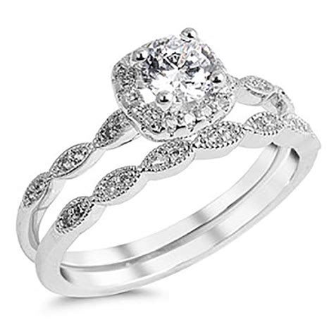 sterling silver 925 cz halo vintage style engagement ring wedding 4 10 ebay