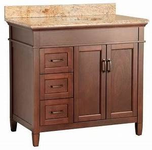 Ashburn vanity mahogany and vanity top with stone effects for Tuscan bathroom vanity cabinets