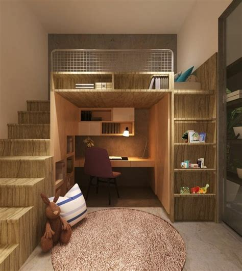 chambre etudiant lit en hauteur avec bureau intégré les atouts