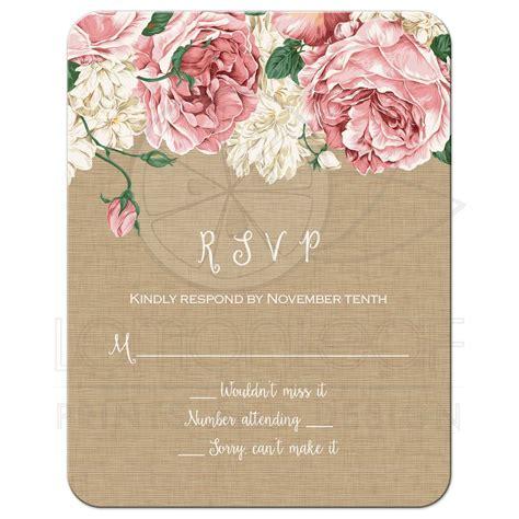 Wedding RSVP Flat Card Rustic Pink Peony Flowers on