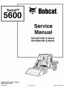Bobcat Toolcat 5600 Utility Work Machine Service Manual