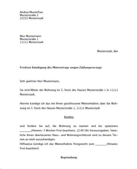 fristlose kündigung mietwohnung durch vermieter muster zum k 252 ndigung mietvertrag durch vermieter ordentlich