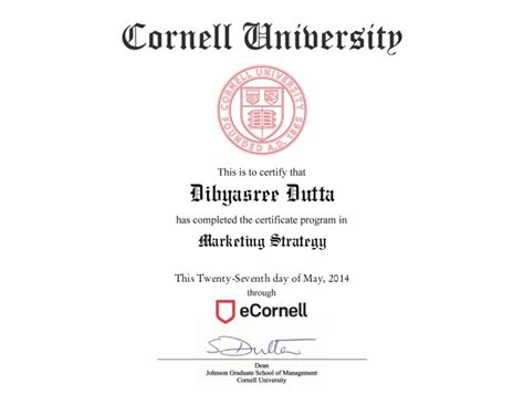 Graduate Certificate Digital Marketing by Cornell Marketing Strategy Certificate Reviews