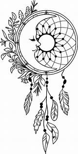 Coloring Dream Catcher Mandala Dreamcatcher Drawing Moon Adult Colouring Feathers sketch template