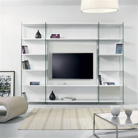 porta tv da parete libreria porta tv da parete in legno e vetro 250 x 200 cm