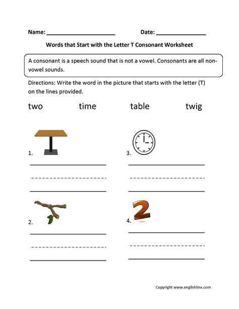 words with letter t phonics worksheets consonant worksheets 25759 | Words Start Letter T Consonant Worksheet