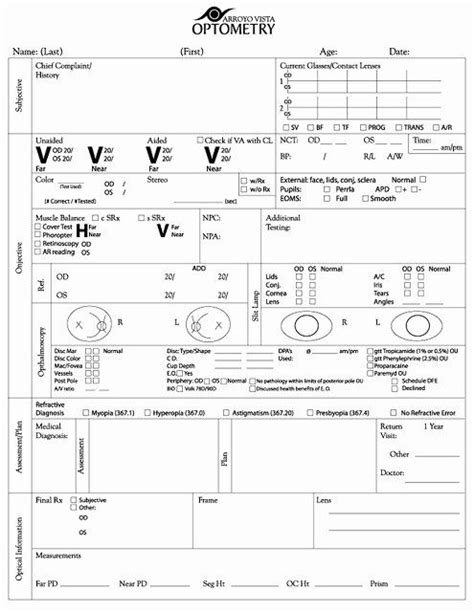 eye exam forms template lovely exam form copyright arroyo
