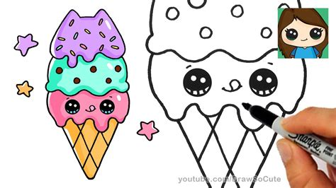 draw ice cream cone easy pusheen youtube