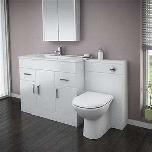 turin high gloss white vanity unit bathroom suite w1500 x With built in bathroom suites