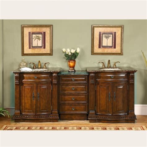 large double sink vanity  baltic brown counter