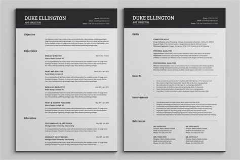 Resume Template 2 Pages by Two Pages Classic Resume Cv Template Cv Template