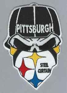 pittsburgh steelers fans 6 quot steel curtain skull bandana iron on football patch ebay