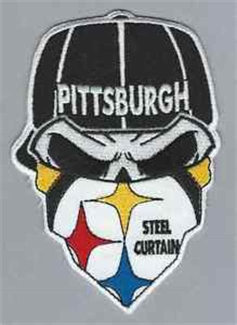 the iron curtain steelers pittsburgh steelers fans 6 quot steel curtain skull bandana