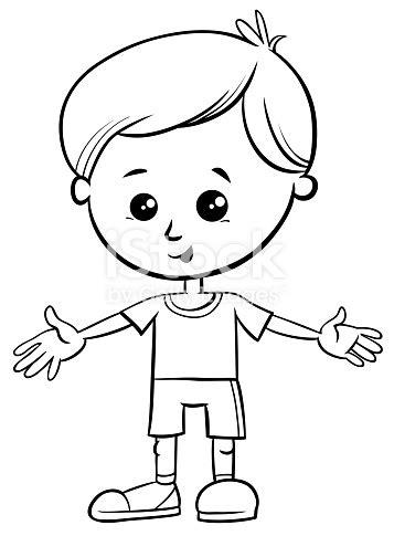 cute  boy character coloring book stock vector art