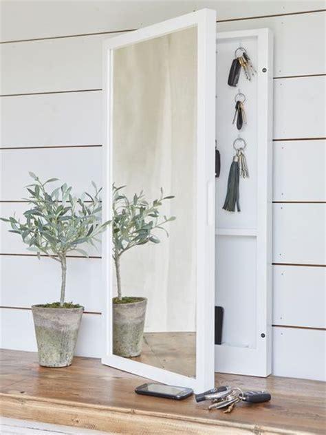 mirrored key cabinet key hooks hallway mirror key
