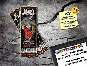 Jurassic Park Invitations Jurassic Park Invite Printable Birthday Ticket Emailable