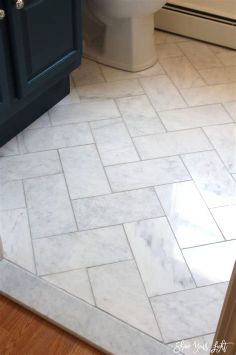 herringbone marble floor large herringbone marble tile floor a great tip to diy it for less shine your light