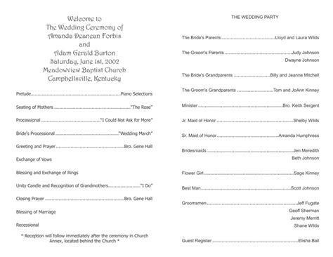 Free Templates For Church Programs by Wedding Program Templates Wedding Programs Fast