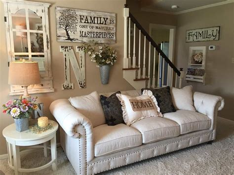 A living room is essential for your family as well so that you may want to ensure it is comfortable for everybody. Cottage Living Room with High ceiling, Crown molding, Carpet | Wall decor living room rustic ...
