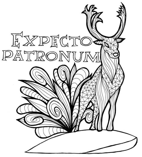 harry potter patronum  coloring page etsy