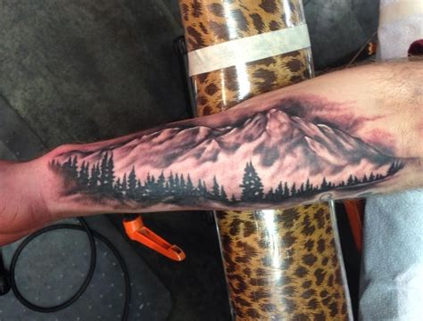 Mountain Scene Tattoo Russell Fortier Lucky