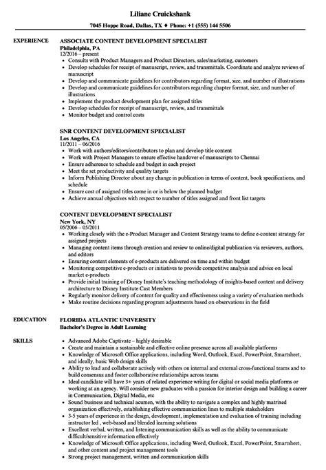 content development specialist resume sles velvet