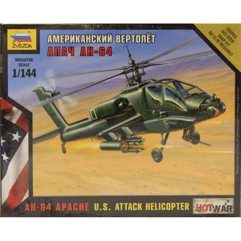 144 7408 Ah-64 Apache Us Attack Helicopter Model